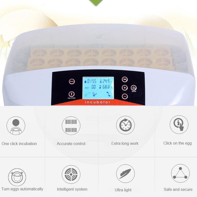 32 Digital Egg Incubator Automatic Hatcher Temperature Control Chicken Bird New