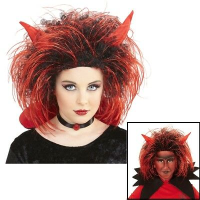 Kinder Teufel Perücke mit Hörner - Halloween Karneval Kostüm Perrücke # - Kostüm Mit Hörner
