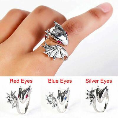 Adjustable Gothic Jewelry Metal Dragon Ring Vintage Sliver Punk Finger Rings