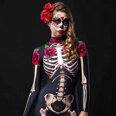 Halloween Women Skeleton Rose Flower Print Skeleton Cosplay Costume Jumpsuit