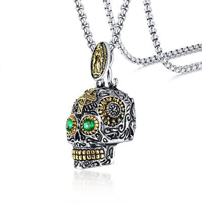 Sugar Skull Head Pendant Men Necklace Mexican Day of The Dead Pendant USPS - Day Of The Dead Jewelry