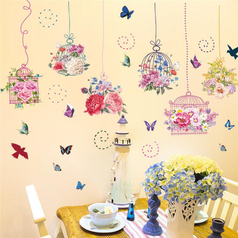 Flower Birdcage Removable Wall Sticker Art Vinyl Decal Mural Home ...