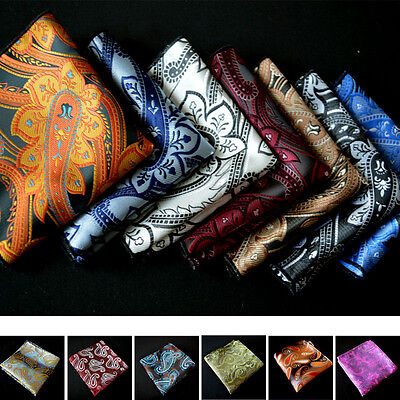 "Lot 1~50 Packs 10"" Men Paisley Silk Stain Pocket Square Handkerchief Wedding"