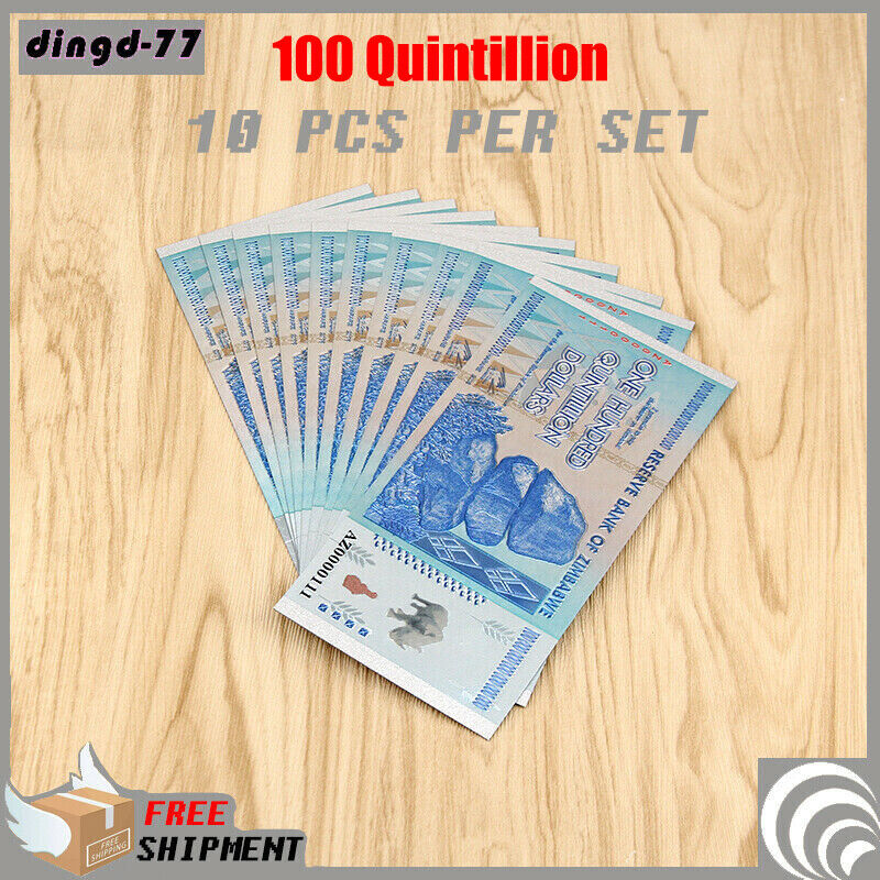New 10x Zimbabwe 100 Quintillion Dollar Banknote Color Silver Bill Rock COA