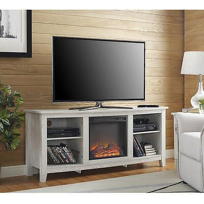 Electric Fireplace TV Stand Whitewash Rustic Media Center Console Storage Heater (Rustic Electric Fireplaces)
