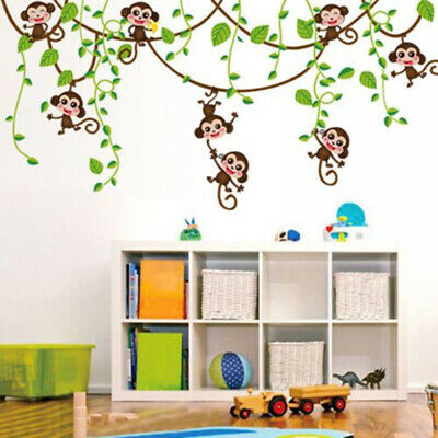 Jungle Monkey Tree Kids Baby Nursery Wall Sticker Mural Decor Decal Removable - Jungle Tree Decorations