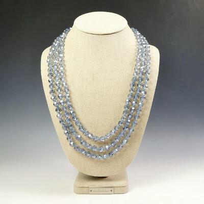 Crystal Bead Necklace (Sparkling Faceted Icy Blue Crystals Bead Knotted 72