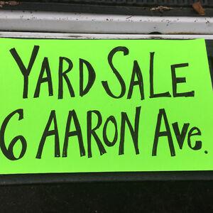 Yard sale 6 Aaron Avenue 8am - 2pm