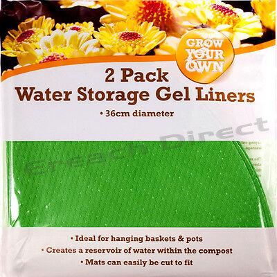 2 Pack Water Storage Gel Liners 36cm Hanging Basket Garden Plants Pots Compost