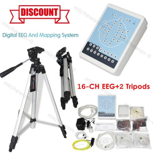 16 Channel EEG Brain Digital Mapping System, PC Software,2 Tripods, CONTEC