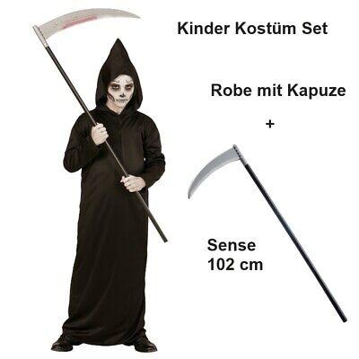 SENSENMANN Kostüm Kinder mit Sense Grim Reaper Tod Halloween Jungen - Jungen Sensenmann Kostüm