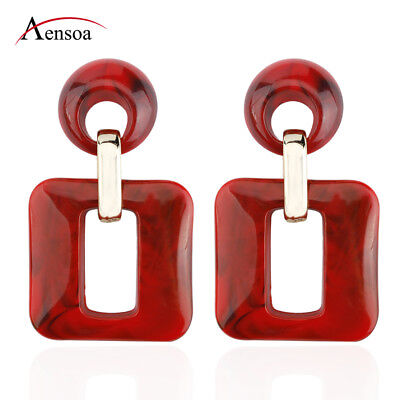 Fashion Women Acrylic Geometric Square Statement Dangle Drop Earrings Jewelry