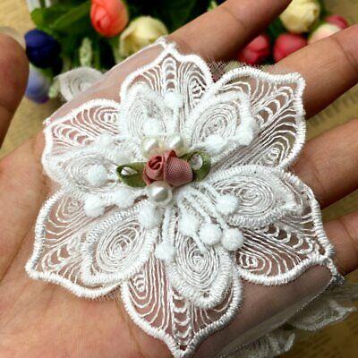 5pcs Rose Flowers Pearl Lace Trim Ribbon Applique Patch Embroidered Sewing Craft