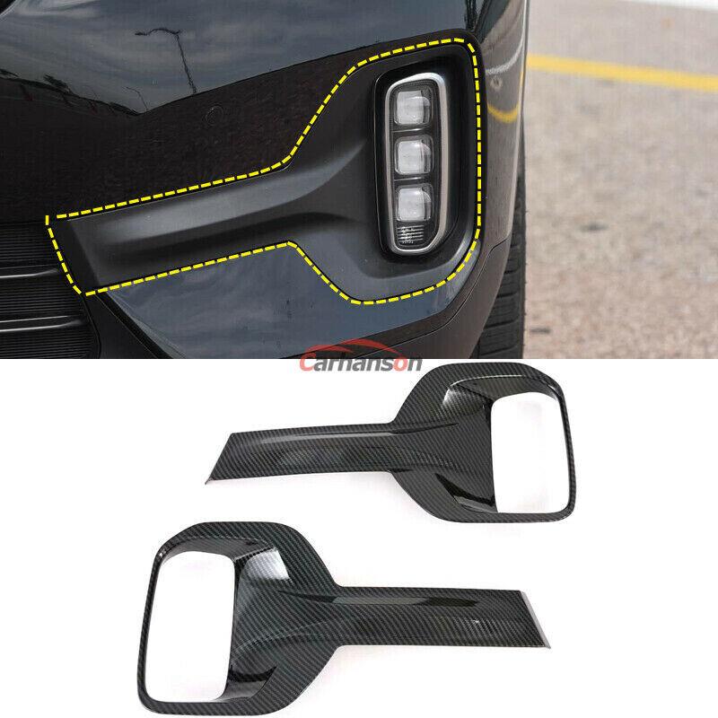 Car Parts - Carbon Fiber Front Lamp Foglight Cover Trim For Kia Seltos Car Accessories Parts