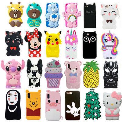 For iPhone Kawaii Phone Case Cove 3D Cartoon Cute Animal Soft Rubber Back Skin