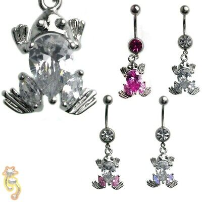 - Frog Clear Pink AB Belly Ring CZ Navel Dangle Body Jewelry Hot Beautiful Sexy