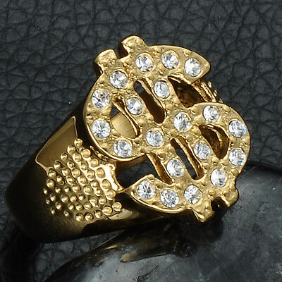 SIZE8,9,10,11,12 MENS 14KT GOLD EP DOLLAR SIGN $ BLING HIP HOP DESIGNER RING
