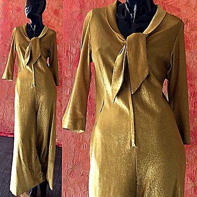 Vintage 60s Gold Lame Jumpsuit Dorian Metallic Disco Party Palazzo Evening