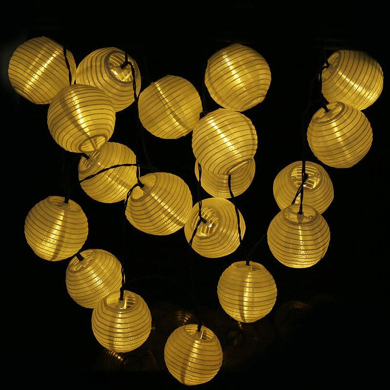 30 Solar Lampion Lichterkette Garten Kette Party Laterne Lichter Garten Warmweiß