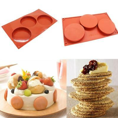 3 Cavity Silicone Disc Mold Bakeware Cake Pie Resin Custard Soap Coaster cook T