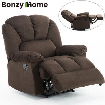 Oversized Recliner Chair Wide Backrest Seat Lux Velvet Fabric Living Room Sofa Modern Wide Sofa