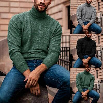 US Men's Winter Warm Cotton High Neck Pullover Jumper Sweater Tops Turtleneck