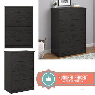 4 DRAWER DRESSER CHEST Of Drawer Clothes Cabinet Storage Black Oak Wood Modern - Modern Oak Dresser
