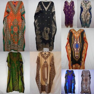Womens Caftan Dress Kaftan dashiki Hippie Boho African Casual Gown Beach Coverup