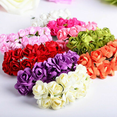 144Pcs Mini Artificial Flowers Small Foam Rose Heads Wedding Party Decor Bouquet