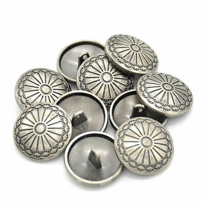 - 10Pcs Flower Metal Shank Sewing Buttons Silver DIY Jacket Coat Costumes Craft US