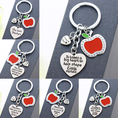 Apple Heart Pendants Teacher Keychain Gifts Keyring Key Chains Charm Christmas