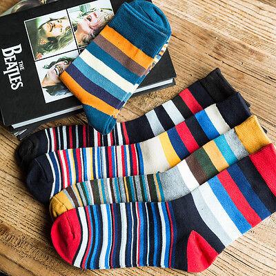 5 Pairs Lot Mens Cotton Socks Warm Multi color Fancy Stripe Casual Dress - Fancy Dress Pairs