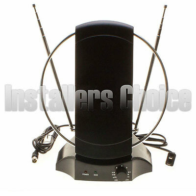 Indoor Digital Tv Antenna 50  Mile Hdtv Uhf Vhf 36Db Signal Booster