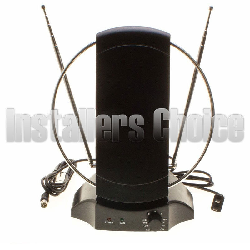 Indoor Digital TV Antenna Table Amplified Signal Booster HDTV UHF VHF FM