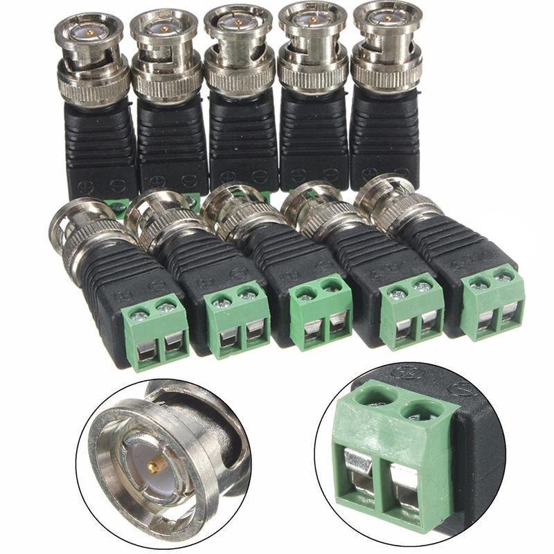 10Pcs/Lot BNC Male Terminals Connector Video Balun  For CCTV Coaxial Camera-Bid