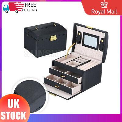 LARGE BLACK JEWELLERY BOX LEATHER FINISH JEWELRY STORAGE 2 DRAWER UK