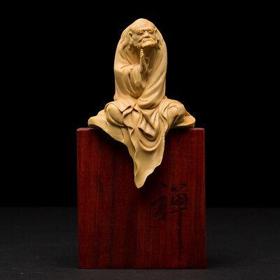 Patriarch Bodhidharma Buddha Statue Boxwood Carving Delicate Sculpture Ornament