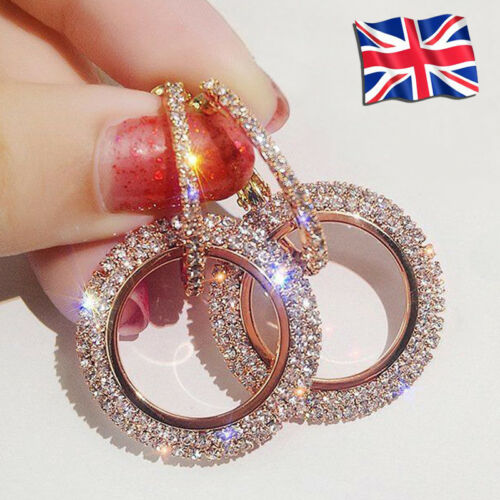 Jewellery - 925 Silver Rose Gold Crystal Round Hoop Earrings Womens Jewellery Party Wedding