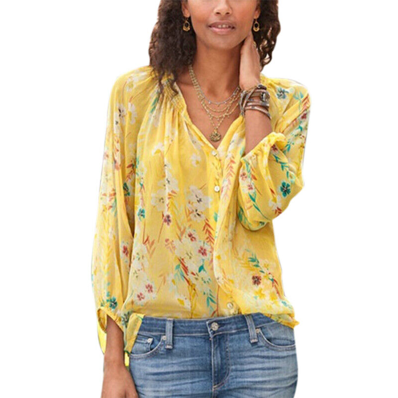 Women Ladies Floral 3/4 Sleeve Blouse Summer Casual Button Pullover T-Shirt Top Clothing, Shoes & Accessories