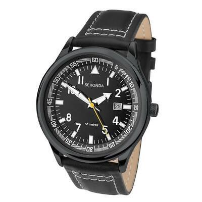 SEKONDA Mens Leather Strap Date Watch 1517