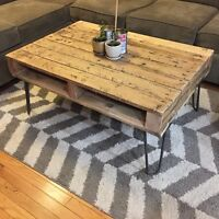 Rustic Solid Oak Coffee Table on Hairpin Legs ***SOLD***