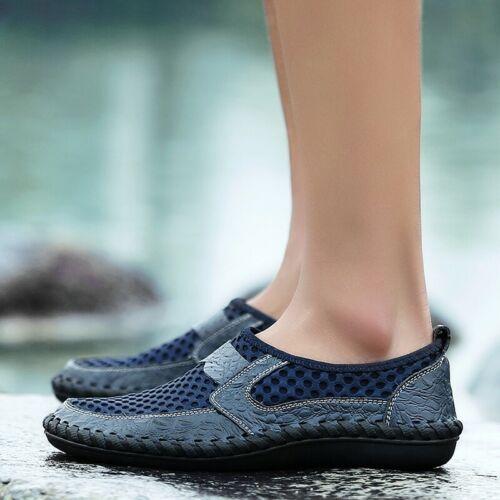 Herren Mesh-Müßiggänger-Schuhe Flache Oxfords Slip On Mokassin-Fahrschuhe Gr.50
