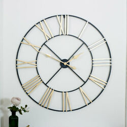 Extra large black gold skeleton wall clock iron wall mounted Roman numeral retro