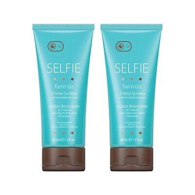 2 x SELFIE 2 Hour Sunless Immediate Bronzers Sunless Fake Tan Self Tanning Mini