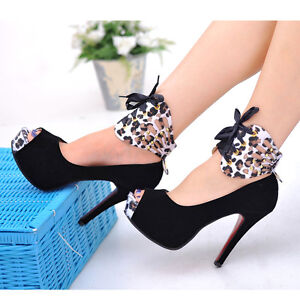 Korean Womens Peep-Toe Bowknot High Heel Pumps Wedding Shoes Sandals #T002
