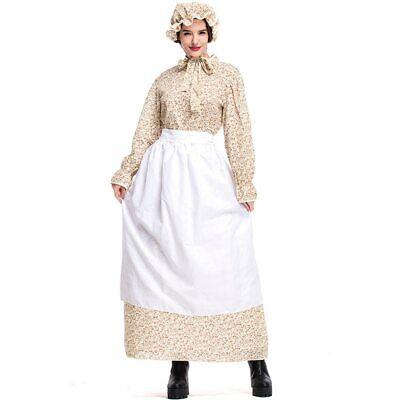 Womens Wolf Halloween Costume (Colonial Pioneer Costume Women Prairie Dress Wolf Grandmother Cosplay)