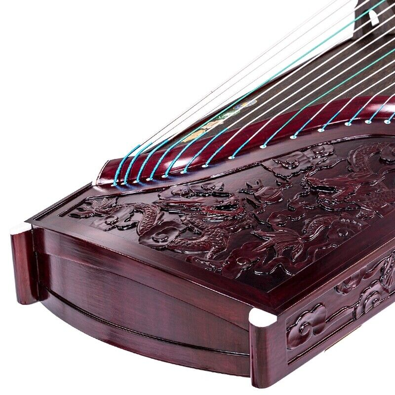 "21-string 63"" Chinese zither koto Carved Dragon GuZheng Redsandalwood #5170"
