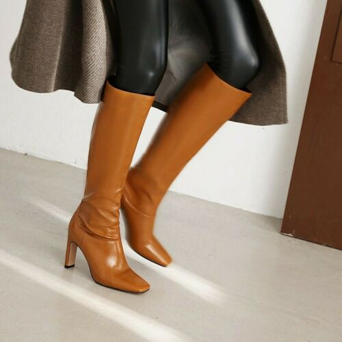 Details about  /Ladies Fashion Square Toe Block Heel Knee High Boots Patent Leather Boots Club L