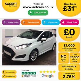 Ford Fiesta 1.0, 1.2, 1.4, EcoB Zetec Titanium WHITE, 3dr FROM £31 PER WEEK!