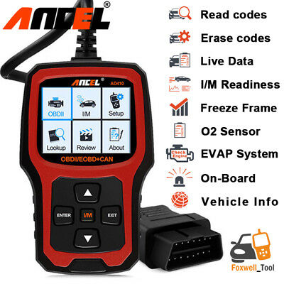 AD410 OBDII Code Reader Scanner Check Engine Light O2 Sensor Test  I/M Readiness